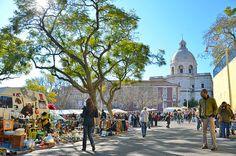 #hac #photo #Lisbon Flea market in Lisbon backgrounded by the National Panteon