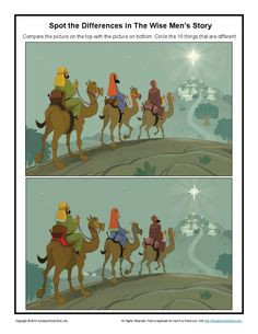 As they spot the differences between two pictures of the wise men's visit to see and honor the child Jesus, children will learn of the importance of worshiping Jesus. Bible Activities For Kids, Sunday School Activities, Bible Lessons For Kids, Sunday School Lessons, Sunday School Crafts, Bible For Kids, Advent Activities, Christmas Activities, Spot The Difference Printable