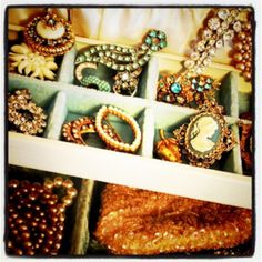 Vintage jewelry. This reminds me of when I would rummage through my grandma's jewlery box. It looked a lot like this.