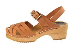 Bambi Cognac Clog - Herringbone-inspired design, open toe sandals for children. A new tan nubuck leather color. Secured strap around ankle for support all day. Available in Children's sizes 24-34. SKU #2102008. Order here: http://store.capeclogs.com/bambicognac-3.aspx.