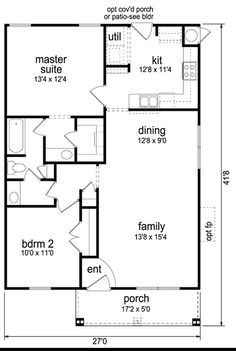 990 Sq. Ft. House Plan [Weekend Cabin (09-002-295)] from Planhouse - Home Plans, House Plans, Floor Plans, Design Plans