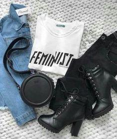 White 'Feminist' Colcci teeshirt, blanks jeans, black lace-up ankle boots, round Colcci black purse, denim jacket. Lazy Outfits, Teen Fashion Outfits, Teenager Outfits, College Outfits, Cute Casual Outfits, Stylish Outfits, Fashion Fashion, Mein Style, Flatlay Styling