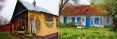 Nesta+vila+polonesa,+todas+as+casas+são+pintadas+com+desenhos+de+flores+coloridas