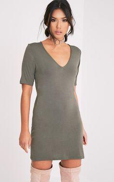 Basic Khaki Plunge V Neck T Shirt Dress