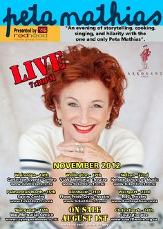 Famous Peta Mathias has been presenting her food and travel television shows, writing food books and hosting gastronomic tours for many years. Her latest trio of books focus on social commentary and relationships. And now she has put it all together in a stage show (in New Zealand only for now…)!     We know Peta has many fans in Australia, just like Arrogant Frog, who is the sponsor of her shows (everybody is welcomed by a glass of Sparkling rosé). Good luck Peta for this new experience!