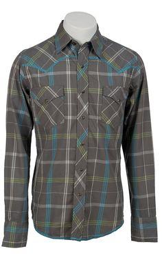 Roper® Men's Long Sleeve Western Snap Shirt 00620115GY | Cavender's