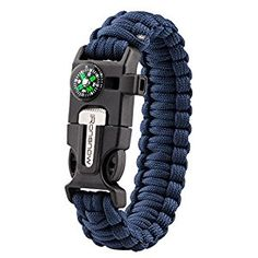 Amazon.com: iRonsnow Emergency Paracord Bracelets Survival Gear, Flint Fire Starter, Whistle, Compass & Scraper/Knife|W, Wilderness Survival-Kit For Camping/Hiking/Boating/Sailing (Blue): Sports & Outdoors