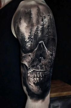 skull and forest done on guys shoulder & upper arm - Tattoo by Eliot K. Realistic skull and forest done on guys shoulder & upper arm - Tattoo by Eliot K. Realistic skull and forest done on guys shoulder & upper arm - Tattoo by Eliot K. Skull Sleeve Tattoos, Leg Tattoo Men, Tattoo Sleeve Designs, Tattoo Designs Men, Leg Tattoos, Body Art Tattoos, Mens Upper Arm Tattoo, Upper Arm Tattoos For Guys, Tattoo Forearm