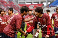 (L-R) Koji Nakata, Atsuto Uchida,<br /> JULY 5, 2015 - Football / Soccer : <br /> A farewell game of Koji Nakata, Atsushi Yanagisawa and Toru Araiba <br /> at Kashima Soccer Stadium in Ibaraki, Japan. <br /> (Photo by Yohei Osada/AFLO SPORT)