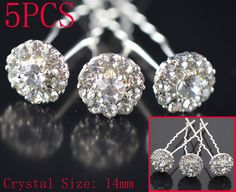 $2.86 free s/h - 5pc Crystal Rhinestone Flower Hair Pin Clips Wedding Bridal Party