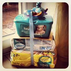 Ding Dong Diaper Ditch ~ Basically, the Mom gets pampered with a box of diapers without having to entertain guests... Simply leave the diapers on the doorstep, ring the bell….and RUN! What a fun idea :)