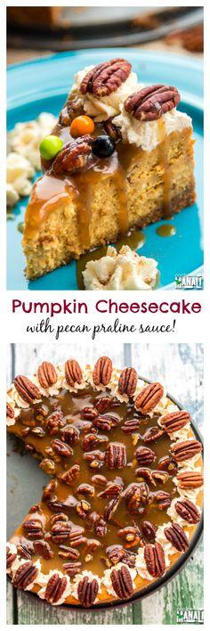 Rich, creamy Pumpkin Cheesecake with pecan praline sauce. Best Thanksgiving dessert ever! Find the recipe on www.cookwithmanali.com