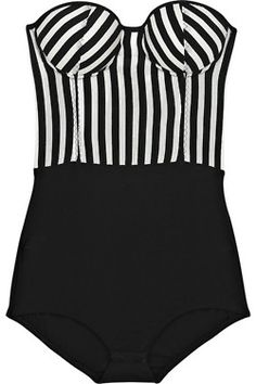 holiday vacation swimwear - black and white corset top one piece