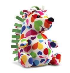 Hannah Hedgehog Stuffed Animal: From her funky fringe to her pudgy feet, adorable Hannah Hedgehog is covered with lovable charm! Large and small bicolor hearts cover her fleecy coat, sending a colorful message of friendship that's as sweet as her big smile. *This would make a sweet Valentine's Day gift!
