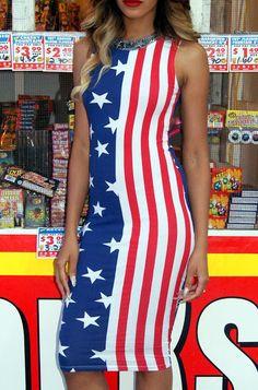WOMEN SEXY LADY ELEGANT AMERICAN FLAG PRINT STREET CASUAL SLEEVELESS SUNDRESS FEMININO VESTIDOS DRESS