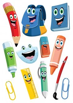 School supplies cartoon characters set P. Cartoon Cartoon, School Cartoon, Cartoon Characters, Class Decoration, School Decorations, School Border, Chibi Kawaii, Scrapbook Background, School Clipart