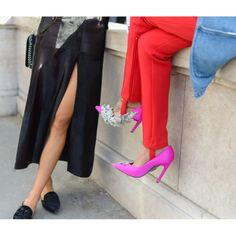 Fashion is all about breaking rules, so go ahead-wear pink and red together.