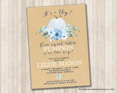 It's a Boy Pumpkin Baby Shower for Baby Boy in Neutrals and blue by PureDesignGraphics on Etsy 80th Birthday Invitations, Wedding Anniversary Invitations, Digital Invitations, Custom Invitations, Katie West, Baby In Pumpkin, Color Themes, White Envelopes, Color Show