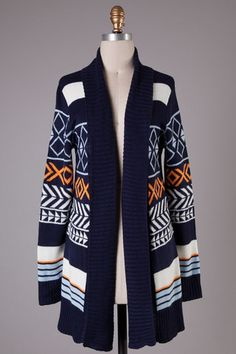 Aztec Print Open Cardigan (Navy) Pre Order - Ashe Couture, Inc