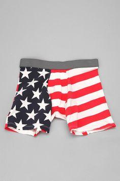 Stars 'N' Stripes Boxer Brief  #UrbanOutfitters  $12 each or 2 for twenty bucks.