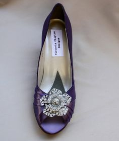 Purple Wedding Shoes Low Heel Wide wedding by TheCrystalSlipper