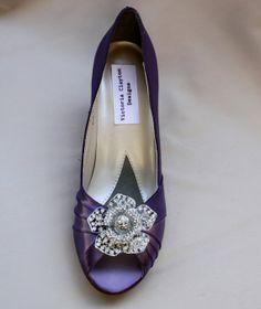 Purple Wedding Shoes Low Heel Wide wedding by TheCrystalSlipper