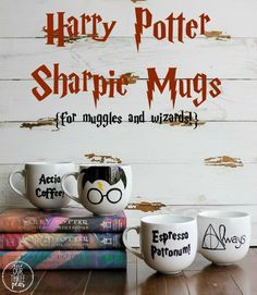 If you are a Harry Potter lover, then you need these Harry Potter sharpie mugs in your life- they are perfect for muggles and wizards! | Our Three Peas