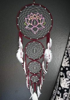 Layered Lotus Flower Dream Catcher by Aurvgon on Etsy Grand Dream Catcher, Dream Catchers For Sale, Dream Catcher Decor, Beautiful Dream Catchers, Large Dream Catcher, Dream Catcher Boho, Dream Catcher Mandala, Dreamcatcher Design, Crochet Dreamcatcher