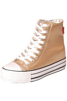 Silvery Golden PU Lace-Up Woman Creeper High-Top Shoes