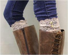 lace boot cuffs | lovely lace beige boot cuffs | lace wedding boot cuffs women