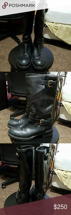 FENDI real fur lined leather boots 100% authentic. Real fux inside. Mid calf. Some imperfections shown on pics. Needs cleaning. Overall in good used condition. Made in Italy. No box. Fendi Shoes Winter & Rain Boots