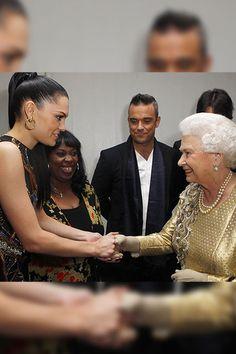 Queen Elizabeth II meets Jessie J backstage after the Diamond Jubilee, Buckingham Palace Concert June 04, 2012 in London.