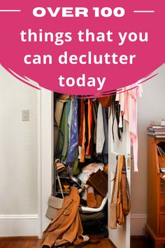 Do you have too much stuff around your house? It's time to get rid of some clutter. You need a decluttering list. Here are more than 100 things to throw away today because they are just clutter Plus a free decluttering checklist printable to help you get this done Declutter Your Home, Organizing Your Home, Bathroom Organization, Closet Organization, Minimalist Living Tips, Bathroom Storage Solutions, Cleaning Hacks, Diy Hacks, Minimal Home