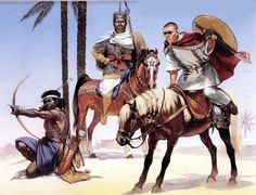 King Silko of Nubia and the Blemmye warrior with a Roman frontier guard