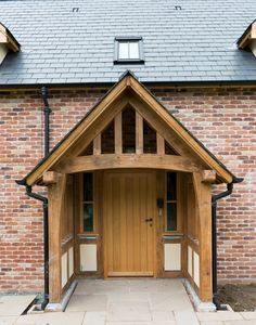 Border Oak - Standard Porch Assembly on a brick Pearmain Cottage Cottage Front Doors, Oak Front Door, Side Door, Front Entry, House With Porch, House Front, Porch Canopy, Door Canopy, Border Oak