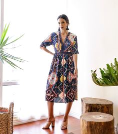 Modejares Navy Printed Dress  |  Seek the Uniq