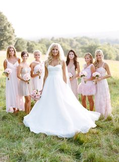 Pale pink mix & match 'maids: http://www.stylemepretty.com/2015/06/01/romantic-rustic-chic-farm-wedding-in-virginia/   Photography: Gabe Aceves - http://gabeaceves.com/
