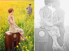 Anniversary shoot with an old radio in a mustard field of flowers (Connection Photography)