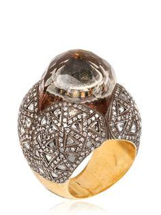 SEVAN BIÇAKCI (Turkish designer) - LEMON TOPAZ AND WHITE DIAMONDS RING - LUISAVIAROMA - FLORENCE