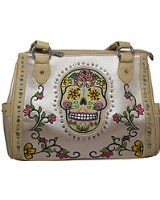 Women's Concealed Carry Purse with Sugar Skull Embroidered Design and Rhinestone Accents