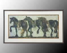 Procession Dupre. The parade of black horses with gold metal leaf embellished on bridal and sashes is presented on a pale blue background. The cream outside mat is raised high above background and is framed in tall black molding with a gold bevel.