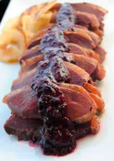 Weston Products Blog: Smoked Wild Goose Breasts with Roasted Pears and Blueberry Sauce