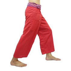 Red Thai Fisherman Pants with Thai hand woven fabric on waist side, Wide Leg pants, Wrap pants, Unisex pants  $25.00 Free shipping
