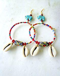 African Festival Tribal Earrings  African by KheperaAdornments