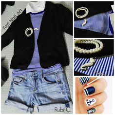 #casual #style #outfit #nail Art #blue