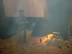 With the smoke machine on. Our Pirate display, August bank holiday 2015. 3 Cogs Entertainment.