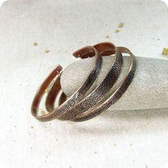 Copper Bangle Bracelets  Set of Three by RadhikaJewelry on Etsy, $40.00