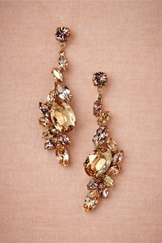 Beautiful Rose & Yellow Crystals Cascade downward like a Sunrise in these Earrings