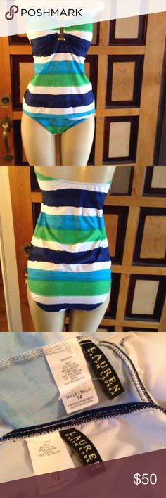 Ralph Lauren swimsuit Beautiful swimsuit.  Blues and greens with gold tone hardware.  2 piece, bottoms are NWT, top in excellent condition NWOT.  Size 14.  Please use offer to negotiate.  No holds and no trades, Bundle and save. Lauren Ralph Lauren Swim