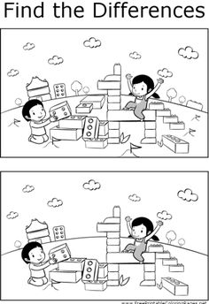 Kids will enjoy finding the differences between the two pictures of kids playing with blocks in this printable coloring page for kids. Preschool Worksheets, Kindergarten Activities, Activities For Kids, Puzzles For Kids, Childhood Education, Kids Education, Find The Difference Pictures, Hidden Pictures, Picture Puzzles